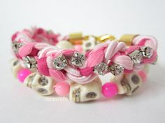 skull lively pink beaded with jewelry pink silk cord by room7070, $11.00