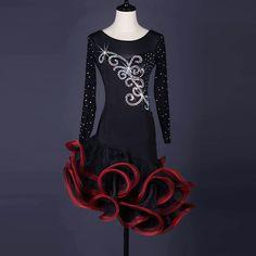 Latin Dance Dress salsa tango Cha cha Ballroom Competition Group Dance Dress  159. Competition fringe latin dance costumes for women ... c2ecf4a8d558