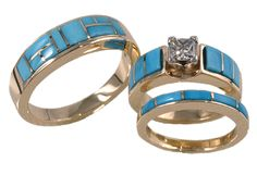 gold 7 mm western turquoise diamond wedding ring set. I love the thought of this because I love turquoise. But I would do it much differently and his would have a hidden turquoise piece.