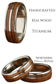This 7mm titanium wood ring has been handcrafted with genuine koa wood. We have designed this ring with polished titanium edges and a titanium center stripe running through the the center of the wood.