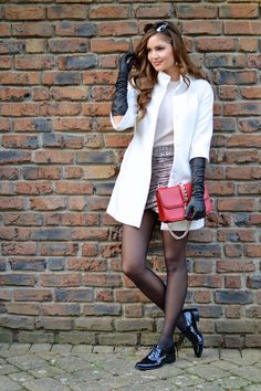 leather gloves with blazer ans skirt