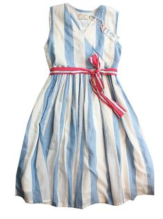 Blue & white stripe dress with pink sash (sweet tartan with no skirt overlay?)