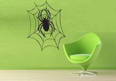 Spider Web Sticker Wall Vinyl Halloween Spider Kid's Mural Decal Decor Gift #256 #HomeOfStickers