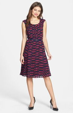 Halogen® Belted Cap Sleeve Pleat Dress (Regular & Petite) available at #Nordstrom