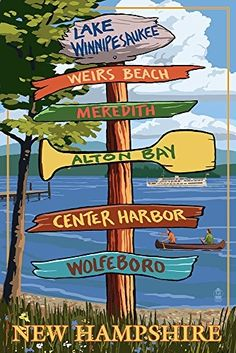 Buy Lake Winnipesaukee  New Hampshire - Signpost Destinations 36x54 Giclee Print  Wall Decor Poster by Rowiera