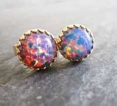 Pink Fire Opal Earrings Gold Orange Yellow Purple Red Pink Gemstone Studs Post Round Exotic Bohemian Shimmer Glitter