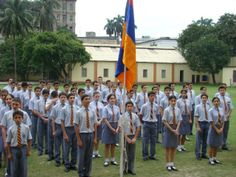 Students of Armenian college in Calcutta, India, celebrating Armenian Independence day