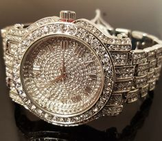 Men Hip Hop Iced out White Gold Techno Pave Bling Simulated Diamond Rapper Watch   Jewelry & Watches, Watches, Parts & Accessories, Wristwatches   eBay!