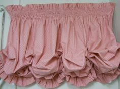 Pink Smocked and Ruffled Lined Cotton Balloon Valance Vintage 1980