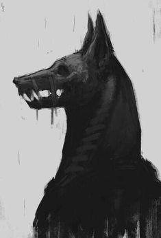 Anubis by EdwardDelandreArt . I know its Egyptian and not Nordic, but its so d.Anubis by EdwardDelandreArt . I know its Egyptian and not Nordic, but its so dark, I love it Fantasy Kunst, Dark Fantasy Art, Dark Art, Arte Horror, Horror Art, Fantasy Creatures, Mythical Creatures, Arte Obscura, Creepy Art