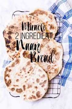 Miracle 2 ingredient naan bread creamy Greek yogurt mixed with fluffy self raising flour and a pinch of salt. Add chilli flakes or fresh herbs to jazz it up Quick Naan Bread Recipe, Make Naan Bread, Homemade Naan Bread, Recipes With Naan Bread, Naan Recipe, Flatbread Recipes, Keto Bread, Bread Food, Lunch Snacks