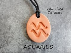 Aquarius Zodiac Aromatherapy Essential Oil Diffuser Pendant, Handmade Terracotta Earthy Eco Friendly Healing Jewelry Free Shipping Available Essential Oil Diffuser, Essential Oils, Aromatherapy Jewelry, Diffuser Jewelry, Aquarius Zodiac, Diffusers, Natural Healing, Terracotta, Earthy