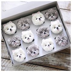 samoyed cupcakes for puppy shower Puppy Cupcakes, Puppy Cake, Animal Cupcakes, Cute Cupcakes, Cupcake Cookies, Baking Cupcakes, Decorated Cupcakes, Cake Decorating Techniques, Cake Decorating Tips