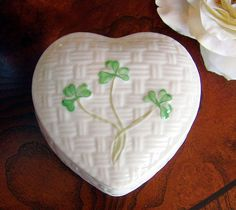 The Irish Wake - Belleek Porcelain Heart-Shaped Keepsake Urn with Hand-Painted Shamrocks, $59.00 (http://www.irishwakestore.com/belleek-porcelain-heart-shaped-keepsake-urn-with-hand-painted-shamrocks/)