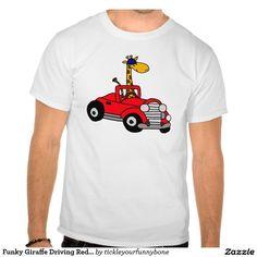 Funky Giraffe Driving Red Convertible T Shirts