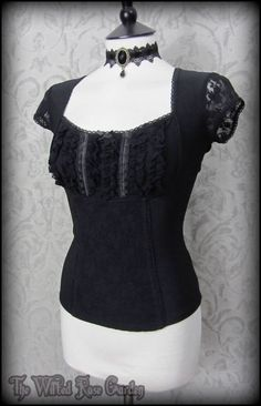 Romantic Goth Black Frill Lace Panel Corset Style Top 12 Elegant Victorian Vamp   THE WILTED ROSE GARDEN