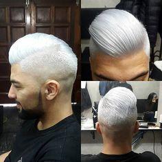 Mens hair. Silver hair