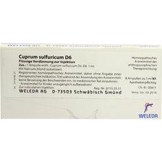 CUPRUM SULFURICUM D 6 Ampullen:   Packungsinhalt: 8X1 ml Ampullen PZN: 01621537 Hersteller: WELEDA AG Preis: 12,49 EUR inkl. 19 % MwSt.…