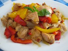 Chicken bites with peppers