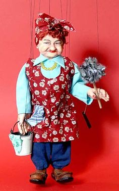 Cleaning Lady/ Bubbe Marionette / Czech Marionette