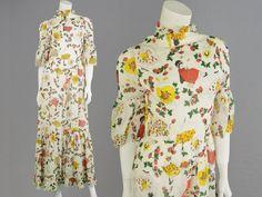 Vintage 70s Novelty Print White Maxi Dress Art Deco Prairie Fruit Print Boho  £45.00 (BOA)