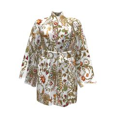 Named Clothing Asaka Kimono made with Spoonflower designs on Sprout Patterns.  Birds of Paradise white background .