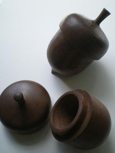 Acorn Box, Hand Turned Wood Acorn - would love to try this with polymer clay