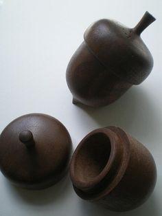Acorn Box, Hand Turned Wood Acorn,