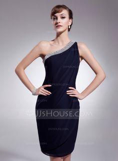 [€ 115.74] Sheath/Column One-Shoulder Knee-Length Chiffon Cocktail Dress With Ruffle Beading (016021276)