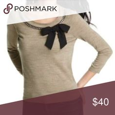 Loft Bow Necklace Sweater Lightweight sweater with bow and necklace detail. Size medium. 3/4 sleeves. Heathered taupe color. Merino wool. Very soft and comfortable but too big for me.  -- no trades -- -- offer button only -- LOFT Sweaters Crew & Scoop Necks