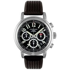 Chopard Mille Miglia Chronograph Stainless Steel & Rubber Strap Watch ($5,070) via Polyvore featuring jewelry, watches, stainless steel chronograph watch, stainless steel jewelry, chopard watches, black dial chronograph watch and stainless steel watches