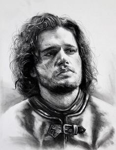 Kreg Franco Art: Portrait of Kit Harrington as Jon Snow as seen in Game of Thrones. Charcoal drawing