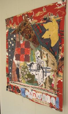 my Bonny Rustic Lodge Cabin Western Cowboy Americana Vintage Fabric Art