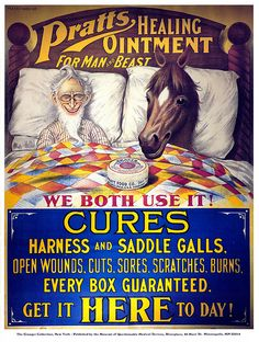 Ad exploring the controversial and much debated topic of ointment and (ahem) man-horse sleeping arrangements...