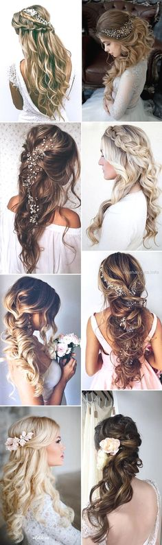 20 amazing half up half down wedding hairstyle ideas oh best day pertaining to long half up wedding hairstyles - Hair Styles Half Up Wedding Hair, Wedding Hairstyles For Long Hair, Wedding Hair And Makeup, Wedding Nails, Vintage Hairstyles, Bohemian Hairstyles, Beautiful Hairstyles, Hairstyles For Gowns, Elegant Hairstyles