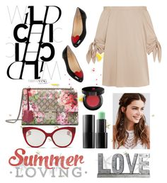"""""""Untitled #213"""" by poorvashikalra ❤ liked on Polyvore featuring Privilege, TIBI, Christian Louboutin, Gucci, Miu Miu, REGALROSE, Ardency Inn and Lancôme"""