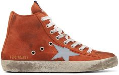 Golden Goose Orange Suede Francy High-Top Sneakers