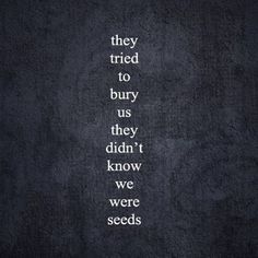 Inspiring quote: THEY TRIED TO BURY US THEY DIDN'T KNOW WE WERE SEEDS.