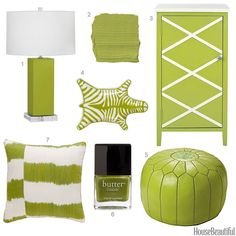 A cabinet, Moroccan pouf, pillow, and more finds in apple green.