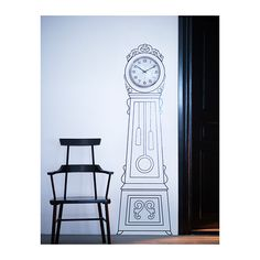 Ikea Mortorp decal wall clock. ($9.99) You can create a personal grandfather clock by framing an ordinary wall clock with the decorative sticker.
