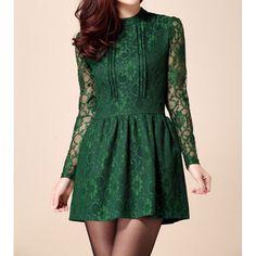 Elegant Stand Collar Long Sleeve Openwork Women's Lace Dress