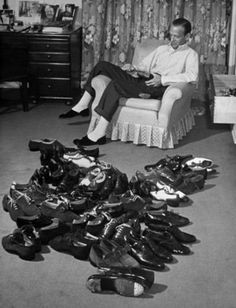Fred Astaire and his dancing shoes, circa 1940s Check this blog!