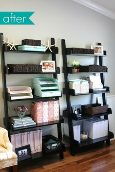 DIY office organization - with Martha Stewart  Use anything of your choice!! Love these shelves too