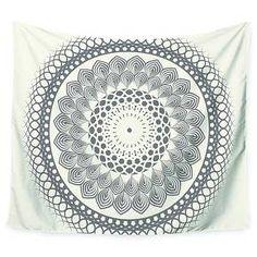 "Geometric Famenxt Black & White Boho Mandala Wall Tapestry (51""x60"") - Kess InHouse : Target"