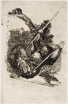 """Francisco de Goya: """"Vieja columpiándose"""". Serie """"Últimos caprichos"""" [2]. Etching and scraper, 188 x 121 mm, 1826-28?. Museo Nacional del Prado, Madrid, Spain"""