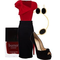 Black Pencil skirt with red bloise red top and black peep toe pumps. Black and gold jewelry. Cute classy dressy outfit