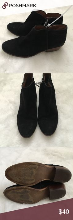 Sam Edelman Petty Black suede ankle boot 8.5 Good condition.  Leather suede upper. Side zipper entry.  Some wear on the back heel. Light spot on the inner side front Sam Edelman Shoes Ankle Boots & Booties