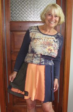 Size Large Dress Blue Rust by maisestudio on Etsy, $75.00