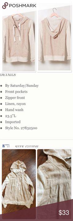 Backshore Linen Hoodie Euc Hoodie by Saturday Sunday. Only worn a couple times. Anthropologie Tops Sweatshirts & Hoodies
