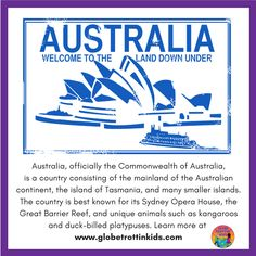 Visit our Australia profile page for a detailed map, country infographic, photographs, and more!